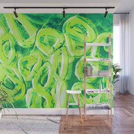 Neon Green Rubber Band Shapes Wall Mural
