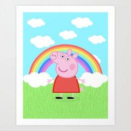 Peppa w/ rainbow Art Print