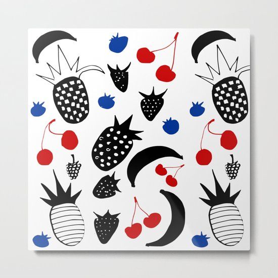 Fruit Salad white Metal Print