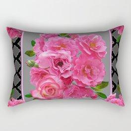 PINK ON PINK ROSE PATTERN GREY ART Rectangular Pillow