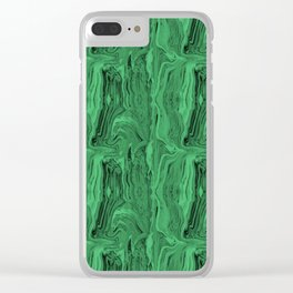 Emerald marble swirl Clear iPhone Case