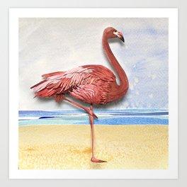 Weekend Flamingo Art Print
