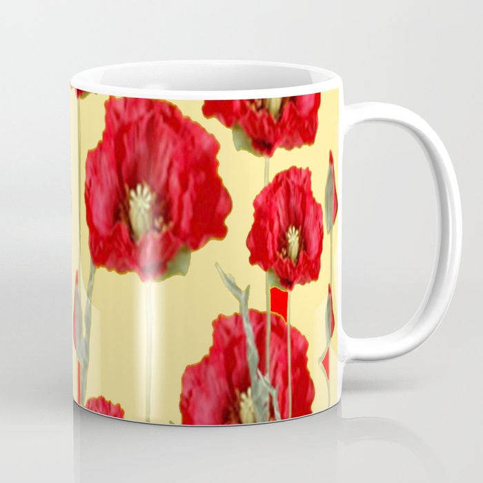 Red Poppies On Cream Art Nouveau Design Coffee Mug