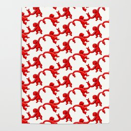 Monkey Toy Pattern - Red Poster