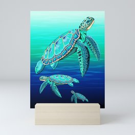 Sea Turtle Turquoise Oceanlife Mini Art Print