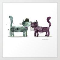 Cat Wedding Art Print