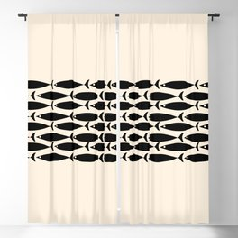 Midcentury Modern Minimalist Fish Stripe Pattern in Black and Almond Cream Blackout Curtain