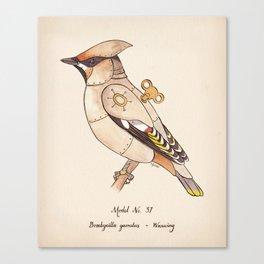 Clockwork Bird Waxwing Canvas Print