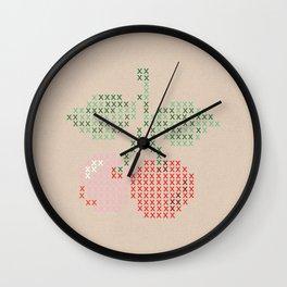 Cherry cross stitch Wall Clock