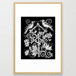 Runes & Ravens in Black Framed Art Print
