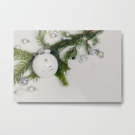 Minimal White Christmas Ornament and Evergreen (Color) Metal Print
