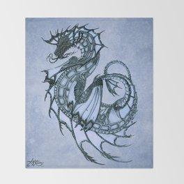 """Tsunami"" by Amber Marine ~ Sea Dragon (Ice Blue Version) ~ Graphite Illustration, (Copyright 2005) Throw Blanket"