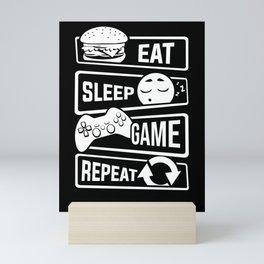 Eat Sleep Game Repeat | Video Game Console Gaming Mini Art Print