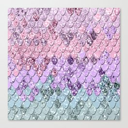 Mermaid Scales with Unicorn Girls Glitter #1 #shiny #pastel #decor #art #society6 Canvas Print