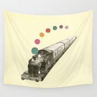 train Wall Tapestries featuring Rainbow Train by Cassia Beck