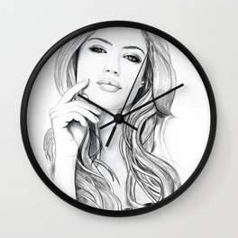 Xenia Tchoumitcheva Portrait of an angel with a frame Wall Clock