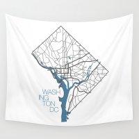 washington Wall Tapestries featuring Washington, DC by linnydrez