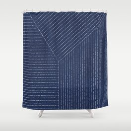 Lines / Navy Shower Curtain