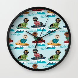 dachshund surfing dog breed pattern pet gifts Wall Clock