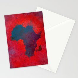 Africa map 3D red blue #africa #map Stationery Cards