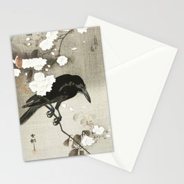 Raven on Cherry tree - Japanese vintage woodblock print Stationery Cards