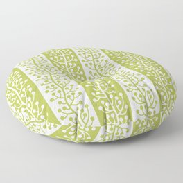 Mid Century Modern Berry Vine Stripes Chartreuse Floor Pillow