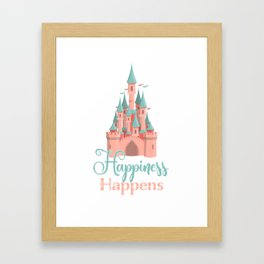 Happiness Happens Castle Newlywed Engagement Couple Framed Art Print