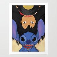 lilo and stitch Art Prints featuring Lilo & Stitch by Ashleigh Jane
