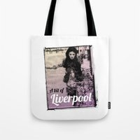 liverpool Tote Bags featuring LIVERPOOL by TOO MANY GRAPHIX