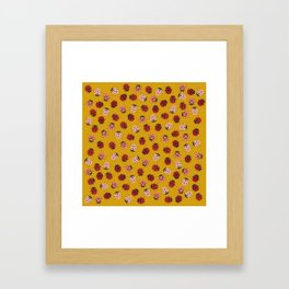All Over Modern Ladybugs on Mustard Yellow Background Framed Art Print