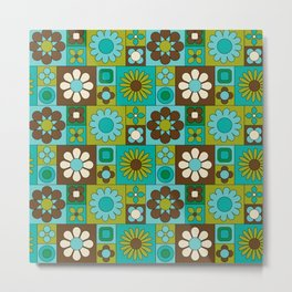 Mod Geometric Flower Pattern Metal Print