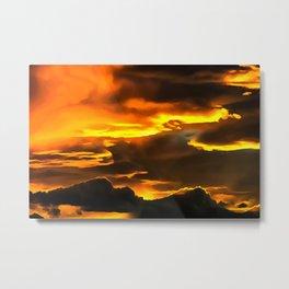 cloudy burning sky reacstd Metal Print