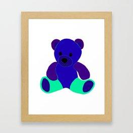 Blue Green Purple Teddy Bear Framed Art Print