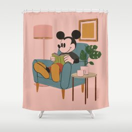"""""""Mickey Mouse Reading"""" by Haley Tippmann Shower Curtain"""