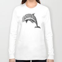 ornate Long Sleeve T-shirts featuring Ornate Dolphin by BIOWORKZ