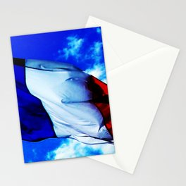 French flag blowing in the wind Stationery Cards