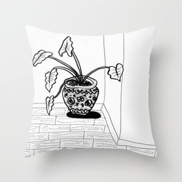 Black and White Elephant Ear Throw Pillow