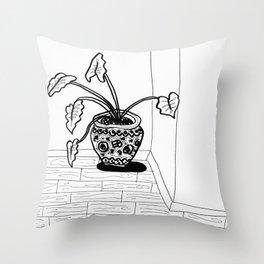 Black and White Elephant Ear Throw Pillow