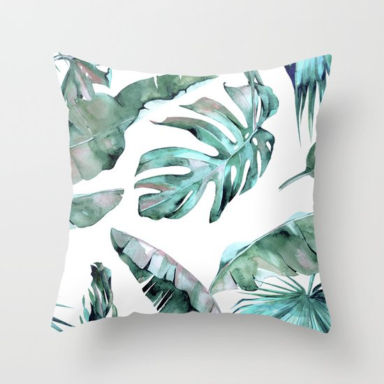 Brand new Tropical Palm Leaves Blue Green on White Throw Pillow by  OO56