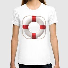 White-red lifebuoy, isolated on white background T-shirt