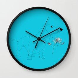 Blue Dachsund Love Wall Clock