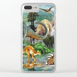 Jurassic dinosaurs drink in the river Clear iPhone Case