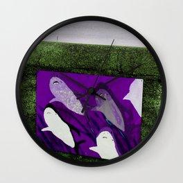 violet sharks Wall Clock