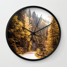 Autumn Mountain Road Wall Clock
