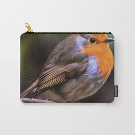 Plump Robin Perched On A Branch Carry-All Pouch