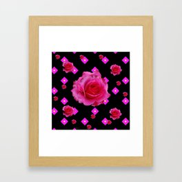 Black Fuchsia Pink Roses & Patterns Framed Art Print