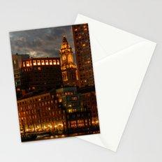 Night at Boston Harbor Stationery Cards