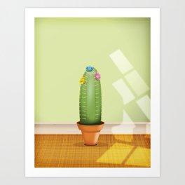 Cactus plant flowering. Art Print
