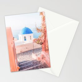 Santorini Greece Pink Old Street Travel photography Stationery Cards