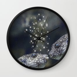 White-Spotted Puffer Fish Kissing - Painting Wall Clock